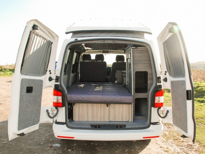 rear view of vw transporter campervan