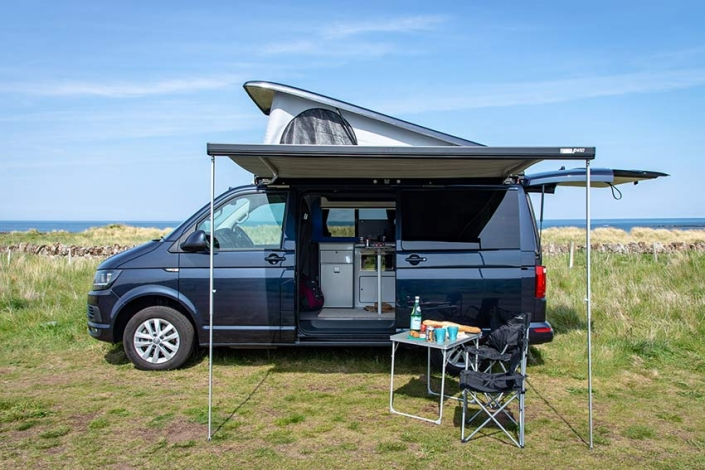 Picnic by the sea - VW campervan rental Scotland