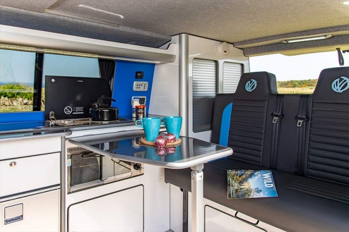 VW Transporter campervan kitchen bedroom area