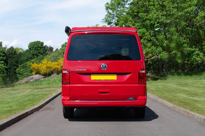 VW campervan hire Edinburgh red van