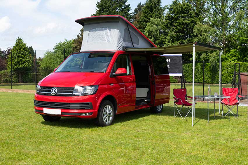 VW Transporter campervan hire red camper