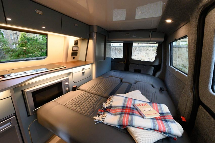 VW Transporter hire Scotland kitchen/bedroom